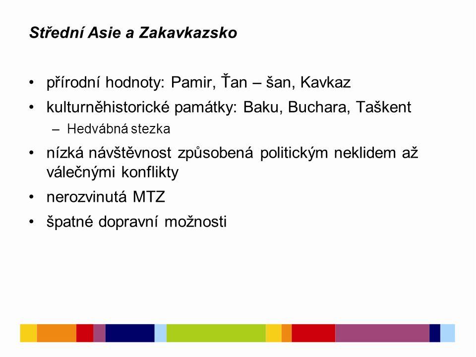 Střední Asie a Zakavkazsko přírodní hodnoty: Pamir, Ťan – šan, Kavkaz kulturněhistorické památky: Baku, Buchara, Taškent –Hedvábná stezka nízká návštěvnost způsobená politickým neklidem až válečnými konflikty nerozvinutá MTZ špatné dopravní možnosti