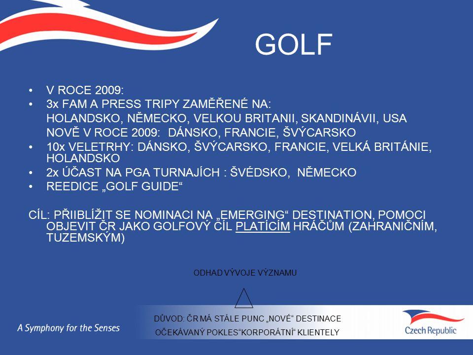 """GOLF V ROCE 2009: 3x FAM A PRESS TRIPY ZAMĚŘENÉ NA: HOLANDSKO, NĚMECKO, VELKOU BRITANII, SKANDINÁVII, USA NOVĚ V ROCE 2009: DÁNSKO, FRANCIE, ŠVÝCARSKO 10x VELETRHY: DÁNSKO, ŠVÝCARSKO, FRANCIE, VELKÁ BRITÁNIE, HOLANDSKO 2x ÚČAST NA PGA TURNAJÍCH : ŠVÉDSKO, NĚMECKO REEDICE """"GOLF GUIDE CÍL: PŘIIBLÍŽIT SE NOMINACI NA """"EMERGING DESTINATION, POMOCI OBJEVIT ČR JAKO GOLFOVÝ CÍL PLATÍCÍM HRÁČŮM (ZAHRANIČNÍM, TUZEMSKÝM) ODHAD VÝVOJE VÝZNAMU DŮVOD: ČR MÁ STÁLE PUNC """"NOVÉ DESTINACE OČEKÁVANÝ POKLES KORPORÁTNÍ KLIENTELY"""