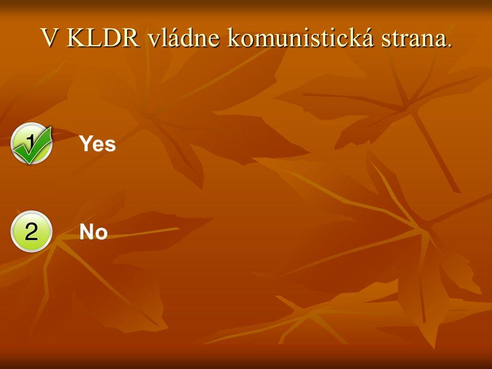 Yes No V KLDR vládne komunistická strana.