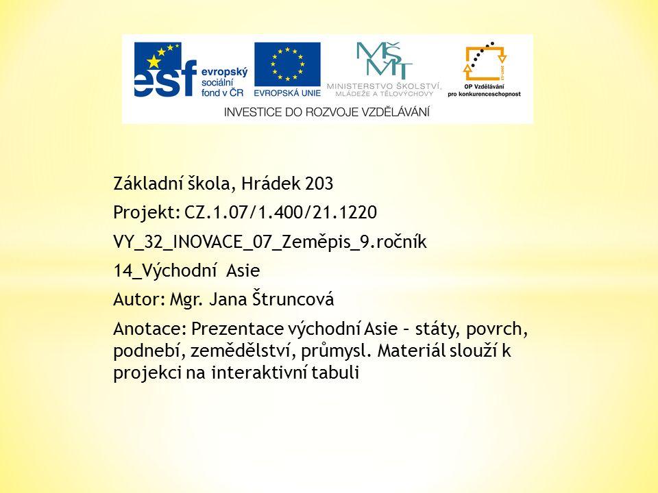 Základní škola, Hrádek 203 Projekt: CZ.1.07/1.400/21.1220 VY_32_INOVACE_07_Zeměpis_9.ročník 14_Východní Asie Autor: Mgr.