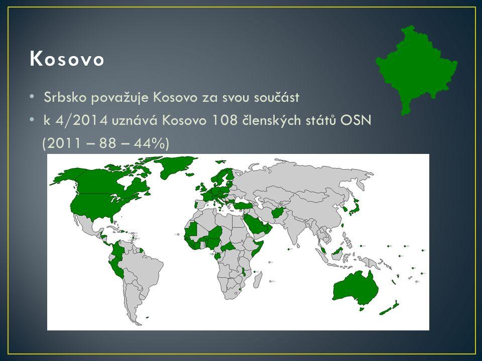 Srbsko považuje Kosovo za svou součást k 4/2014 uznává Kosovo 108 členských států OSN (2011 – 88 – 44%)