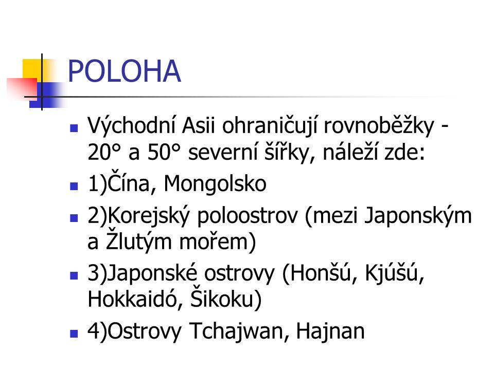 POLOHA Východní Asii ohraničují rovnoběžky - 20° a 50° severní šířky, náleží zde: 1)Čína, Mongolsko 2)Korejský poloostrov (mezi Japonským a Žlutým mořem) 3)Japonské ostrovy (Honšú, Kjúšú, Hokkaidó, Šikoku) 4)Ostrovy Tchajwan, Hajnan