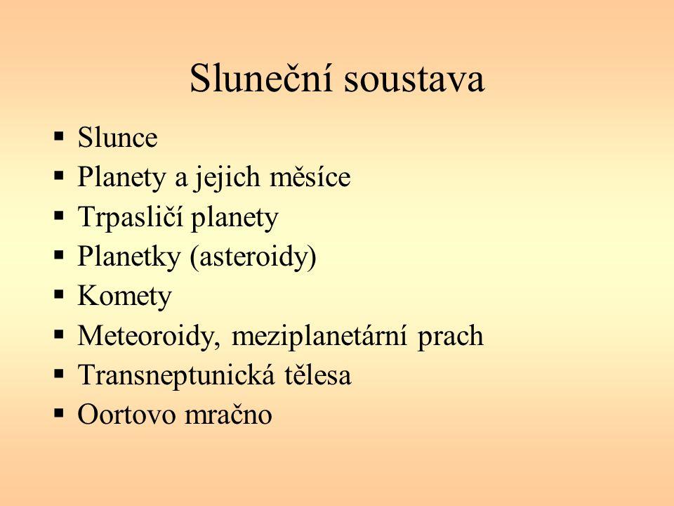 Sluneční soustava  Slunce  Planety a jejich měsíce  Trpasličí planety  Planetky (asteroidy)  Komety  Meteoroidy, meziplanetární prach  Transneptunická tělesa  Oortovo mračno