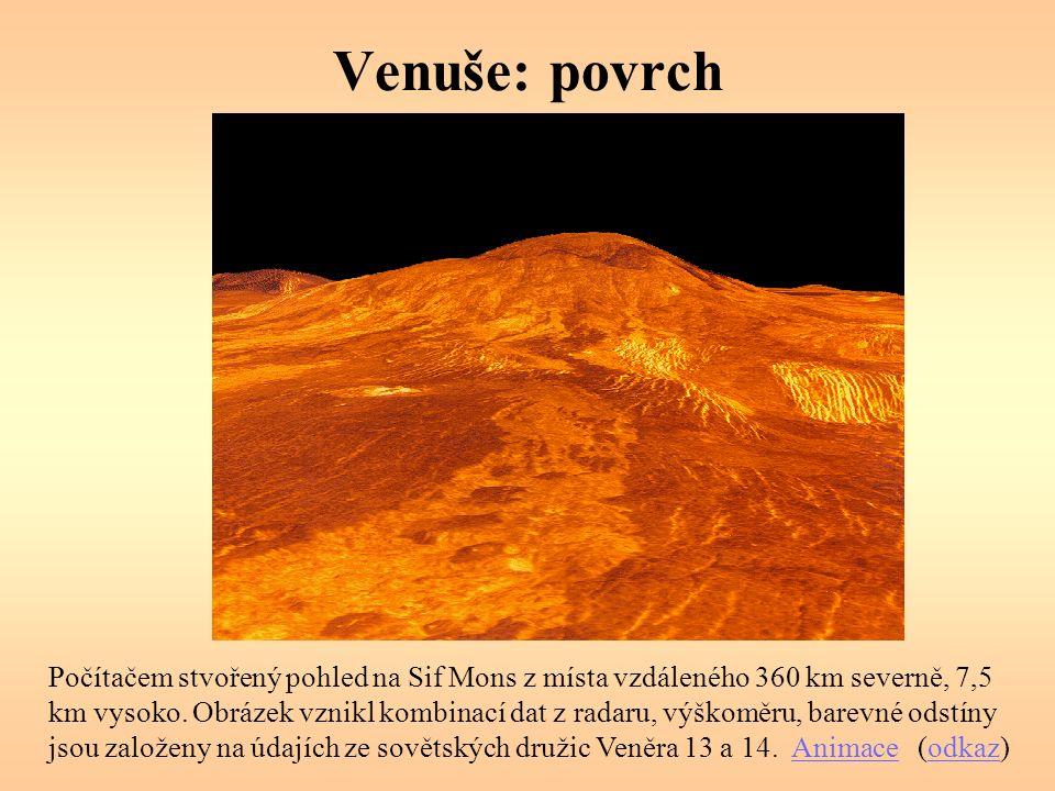 Venuše: povrch Počítačem stvořený pohled na Sif Mons z místa vzdáleného 360 km severně, 7,5 km vysoko.