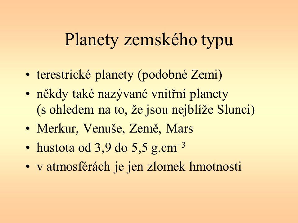 Planety zemského typu terestrické planety (podobné Zemi) někdy také nazývané vnitřní planety (s ohledem na to, že jsou nejblíže Slunci) Merkur, Venuše, Země, Mars hustota od 3,9 do 5,5 g.cm −3 v atmosférách je jen zlomek hmotnosti