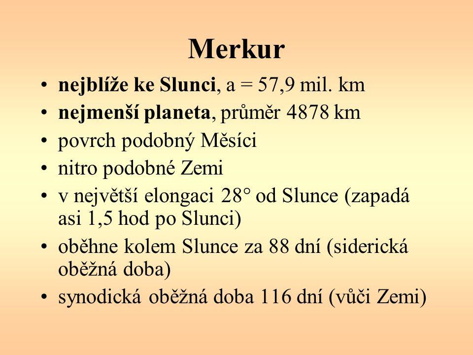 Merkur nejblíže ke Slunci, a = 57,9 mil.