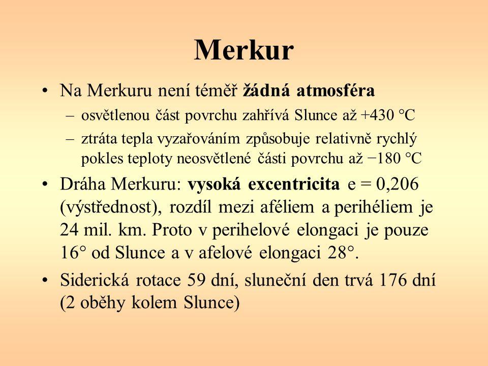 Merkur – stáčení perihelu Posun perihelu Merkura: 5600 /století, tj.