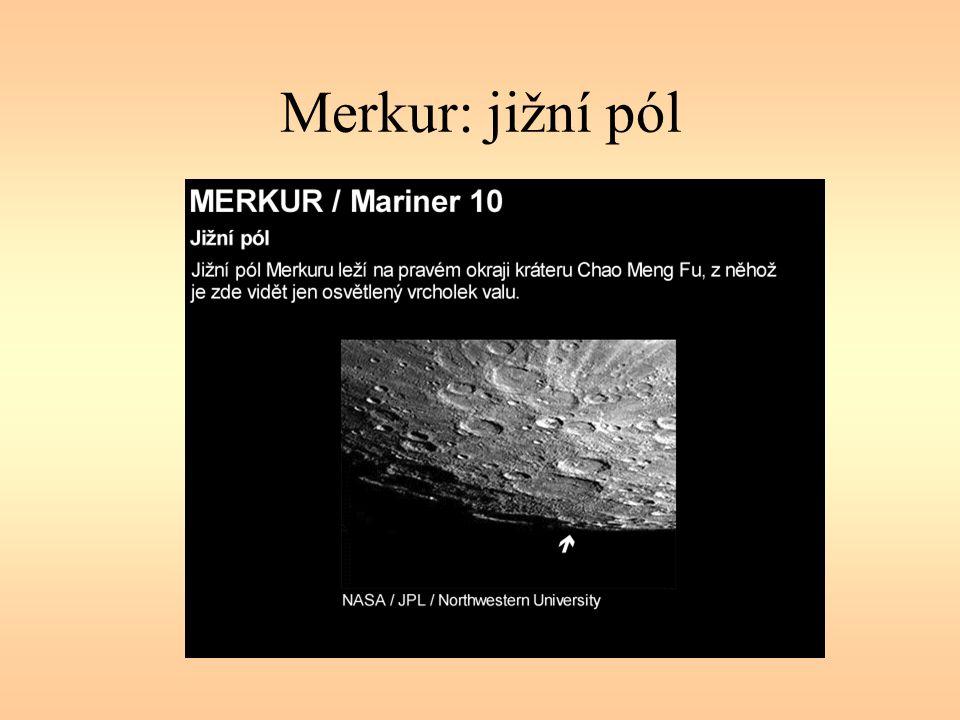 Atmosféra Venuše Teplota 480° C tlak 9,4 MPa (více než 90 atmosfér) Složení: CO 2 (97 %), dusík (2 %), kyslík, vodní pára, oblaka obsahují síru, výše i kyselinu sírovou ve výšce 70 km vítr asi 500 km/hod