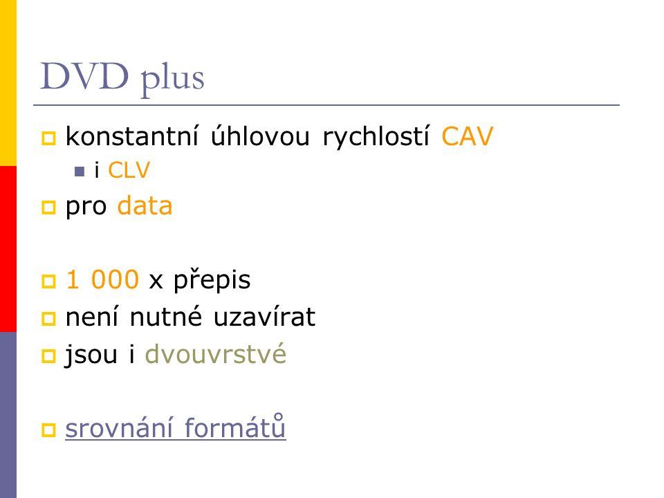DVD plus  konstantní úhlovou rychlostí CAV i CLV  pro data  1 000 x přepis  není nutné uzavírat  jsou i dvouvrstvé  srovnání formátů srovnání fo