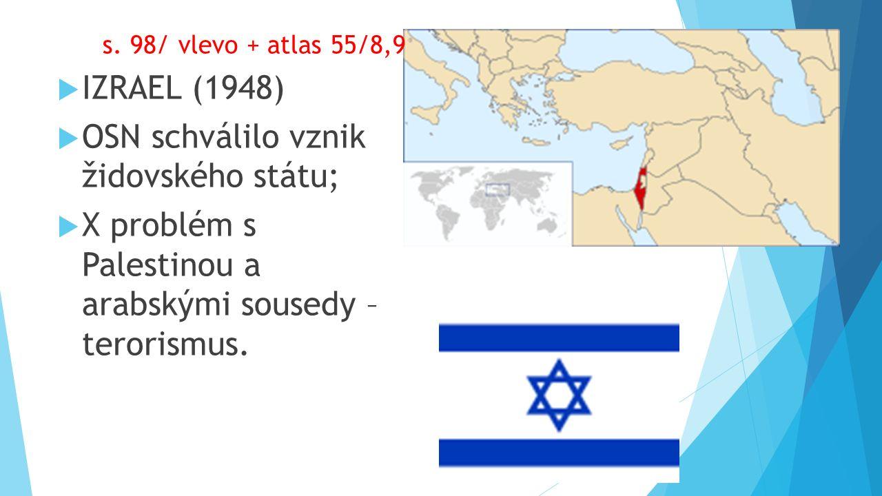  IZRAEL (1948)  OSN schválilo vznik židovského státu;  X problém s Palestinou a arabskými sousedy – terorismus.