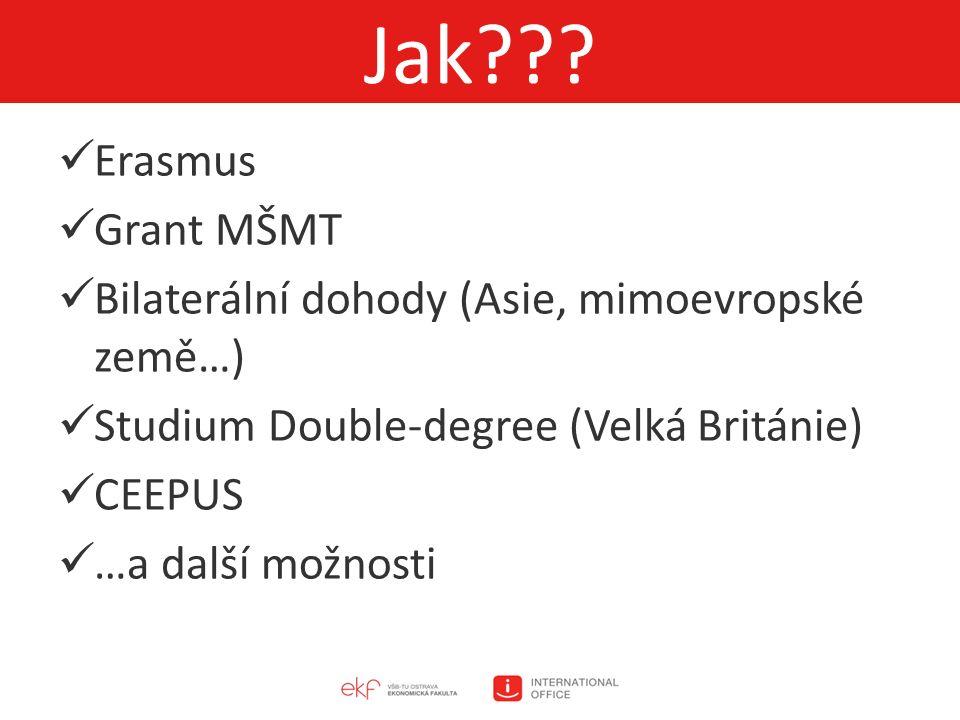 Erasmus Grant MŠMT Bilaterální dohody (Asie, mimoevropské země…) Studium Double-degree (Velká Británie) CEEPUS …a další možnosti Jak???