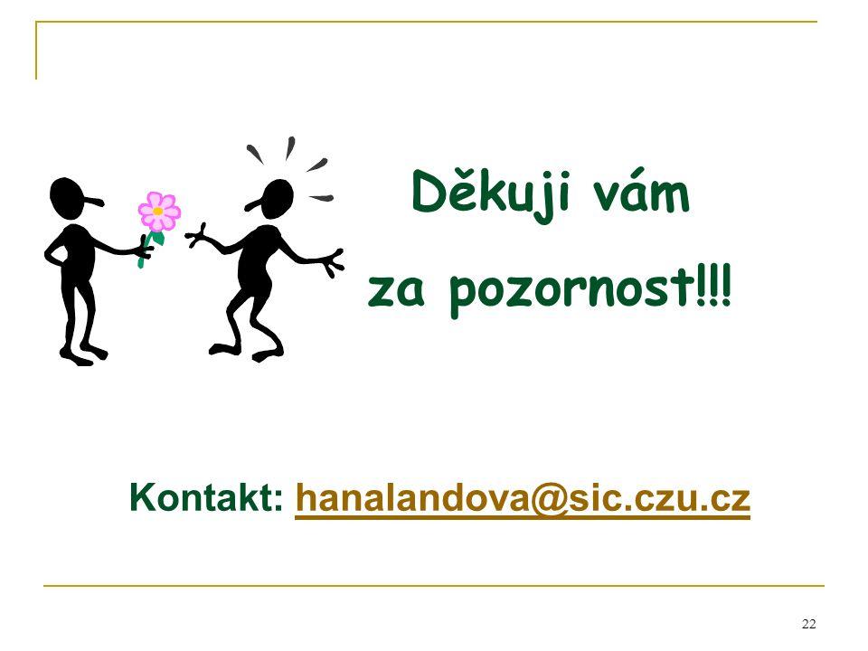 22 Děkuji vám za pozornost!!! Kontakt: hanalandova@sic.czu.czhanalandova@sic.czu.cz