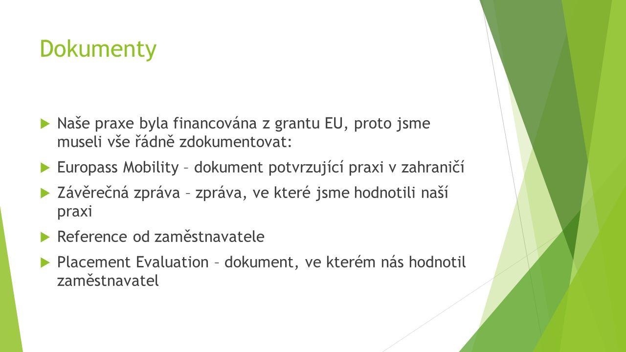 Dokumenty  Naše praxe byla financována z grantu EU, proto jsme museli vše řádně zdokumentovat:  Europass Mobility – dokument potvrzující praxi v zahraničí  Závěrečná zpráva – zpráva, ve které jsme hodnotili naší praxi  Reference od zaměstnavatele  Placement Evaluation – dokument, ve kterém nás hodnotil zaměstnavatel