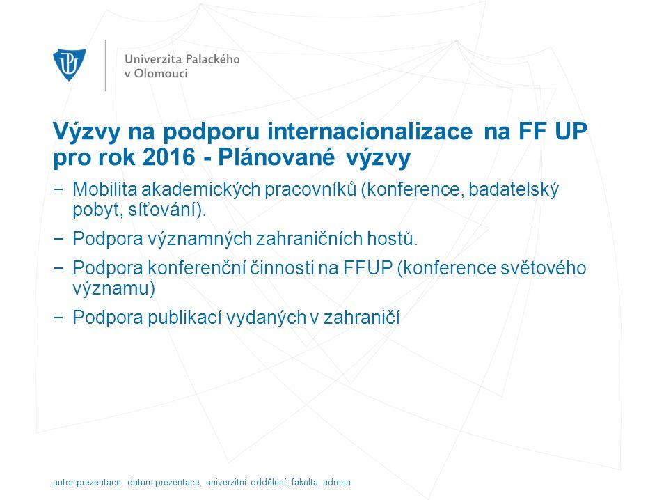 Výzvy na podporu internacionalizace na FF UP pro rok 2016 - Plánované výzvy −Mobilita akademických pracovníků (konference, badatelský pobyt, síťování).