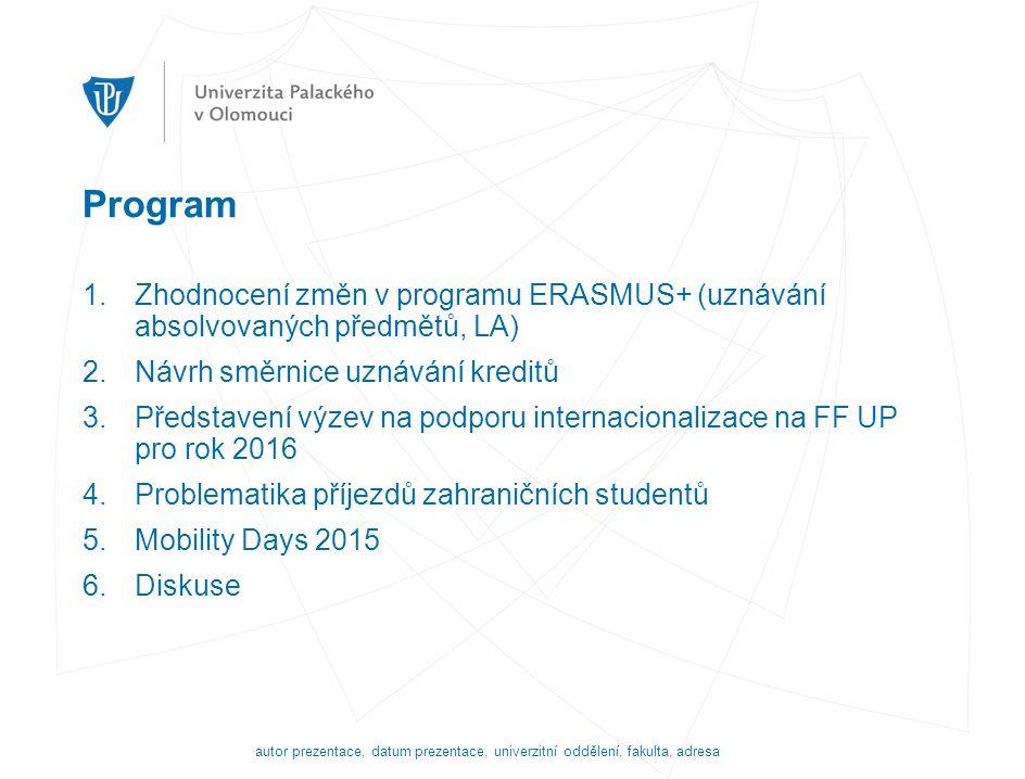 Program 1.Zhodnocení změn v programu ERASMUS+ (uznávání absolvovaných předmětů, LA) 2.Návrh směrnice uznávání kreditů 3.Představení výzev na podporu internacionalizace na FF UP pro rok 2016 4.Problematika příjezdů zahraničních studentů 5.Mobility Days 2015 6.Diskuse autor prezentace, datum prezentace, univerzitní oddělení, fakulta, adresa