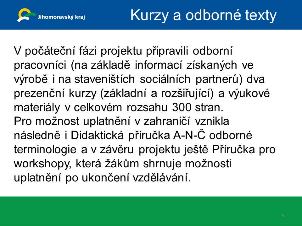 6 Kurzy a odborné texty V počáteční fázi projektu připravili odborní pracovníci (na základě informací získaných ve výrobě i na staveništích sociálních
