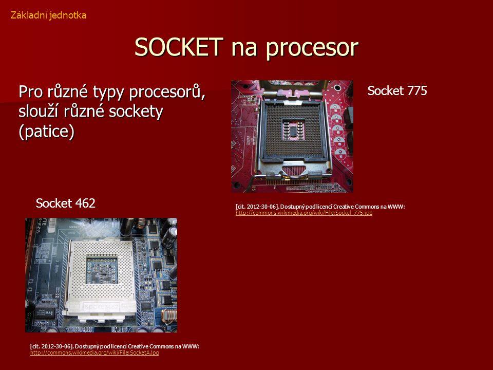 SOCKET na procesor Pro různé typy procesorů, slouží různé sockety (patice) Základní jednotka [cit. 2012-30-06]. Dostupný pod licencí Creative Commons