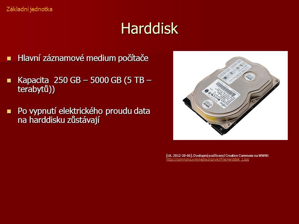 Harddisk Hlavní záznamové medium počítače Hlavní záznamové medium počítače Kapacita 250 GB – 5000 GB (5 TB – terabytů)) Kapacita 250 GB – 5000 GB (5 TB – terabytů)) Po vypnutí elektrického proudu data na harddisku zůstávají Po vypnutí elektrického proudu data na harddisku zůstávají Základní jednotka [cit.