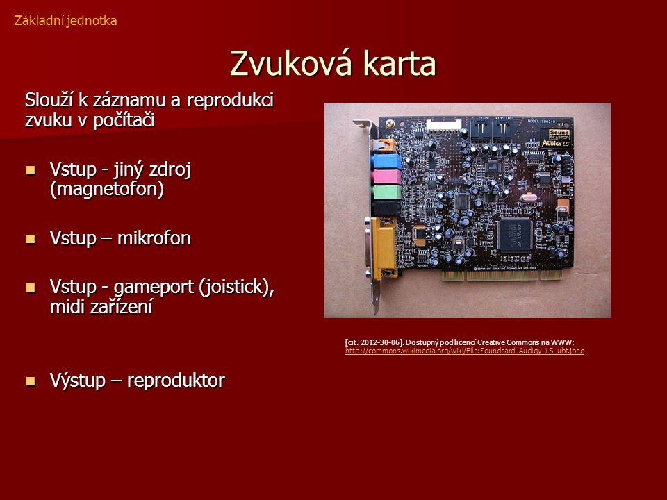 Zvuková karta Slouží k záznamu a reprodukci zvuku v počítači Vstup - jiný zdroj (magnetofon) Vstup - jiný zdroj (magnetofon) Vstup – mikrofon Vstup – mikrofon Vstup - gameport (joistick), midi zařízení Vstup - gameport (joistick), midi zařízení Výstup – reproduktor Výstup – reproduktor Základní jednotka [cit.
