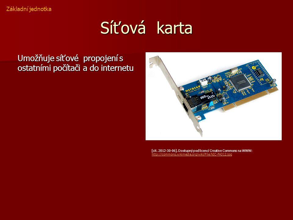 Síťová karta Umožňuje síťové propojení s ostatními počítači a do internetu Základní jednotka [cit.