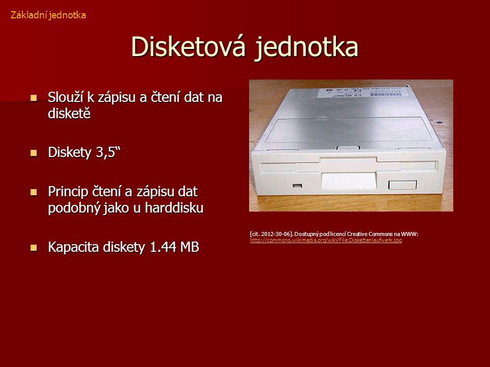 Disketová jednotka Slouží k zápisu a čtení dat na disketě Slouží k zápisu a čtení dat na disketě Diskety 3,5 Diskety 3,5 Princip čtení a zápisu dat podobný jako u harddisku Princip čtení a zápisu dat podobný jako u harddisku Kapacita diskety 1.44 MB Kapacita diskety 1.44 MB Základní jednotka [cit.