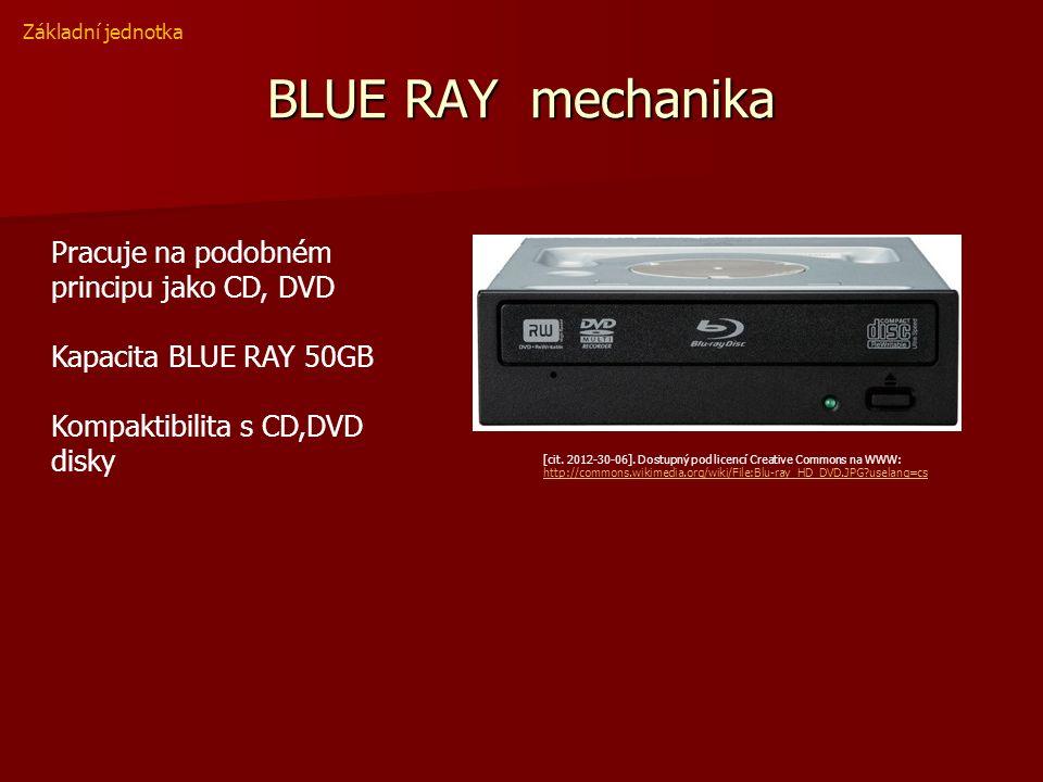 BLUE RAY mechanika Pracuje na podobném principu jako CD, DVD Kapacita BLUE RAY 50GB Kompaktibilita s CD,DVD disky Základní jednotka [cit.