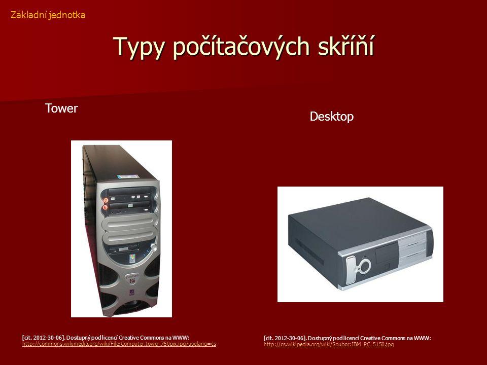Typy počítačových skříňí [cit. 2012-30-06]. Dostupný pod licencí Creative Commons na WWW: http://commons.wikimedia.org/wiki/File:Computer.tower.750pix