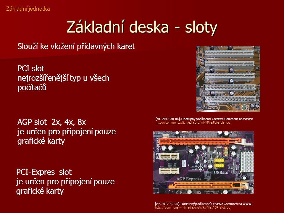 Základní deska - sloty Základní jednotka Slouží ke vložení přídavných karet PCI slot nejrozšířenější typ u všech počítačů [cit. 2012-30-06]. Dostupný