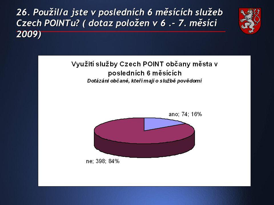 26. Použil/a jste v posledních 6 měsících služeb Czech POINTu.