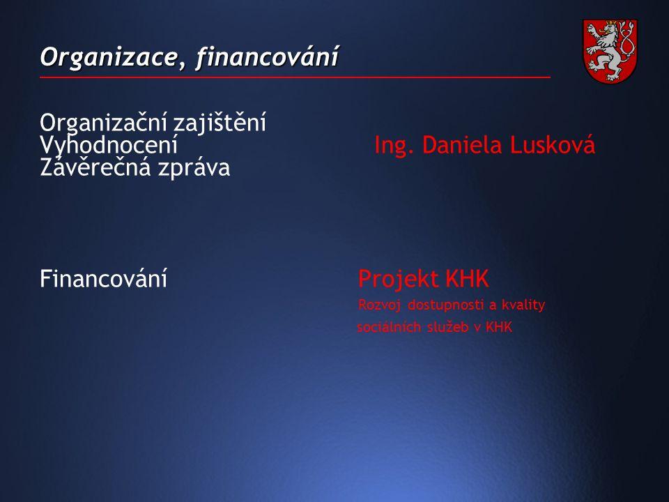 Organizace, financování Organizační zajištění Vyhodnocení Ing.