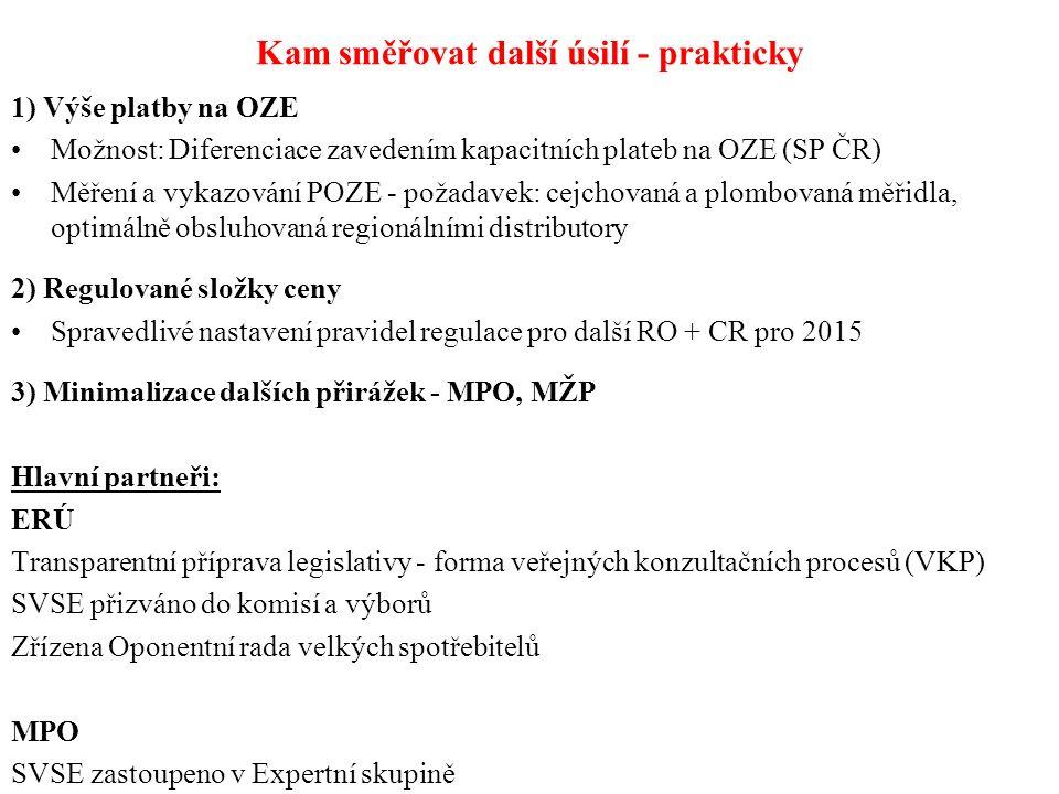 Kam směřovat další úsilí - prakticky 1) Výše platby na OZE Možnost: Diferenciace zavedením kapacitních plateb na OZE (SP ČR) Měření a vykazování POZE