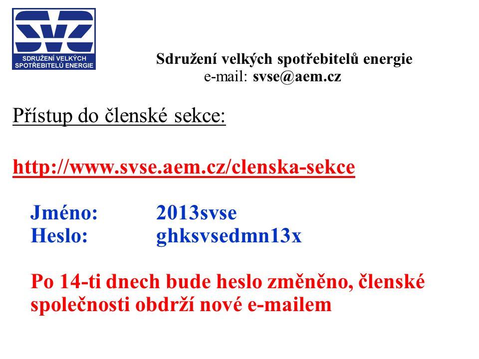 Sdružení velkých spotřebitelů energie e-mail: svse@aem.cz Přístup do členské sekce: http://www.svse.aem.cz/clenska-sekce Jméno: 2013svse Heslo: ghksvsedmn13x Po 14-ti dnech bude heslo změněno, členské společnosti obdrží nové e-mailem