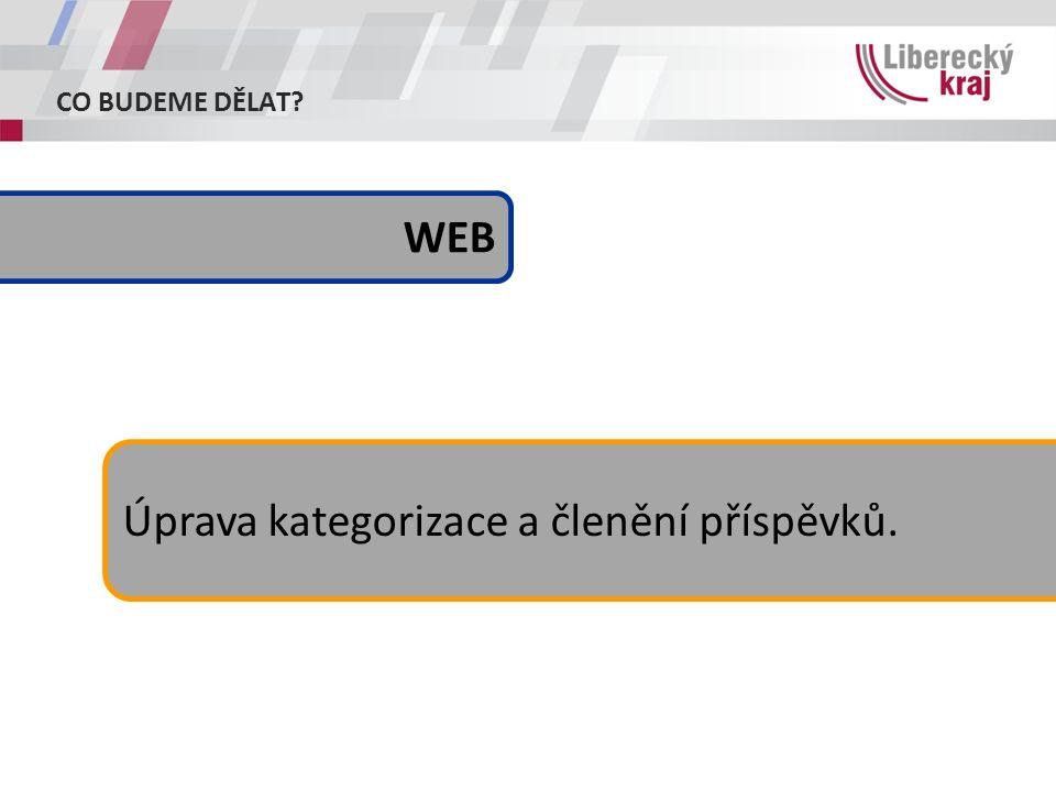 CO BUDEME DĚLAT Úprava kategorizace a členění příspěvků. WEB