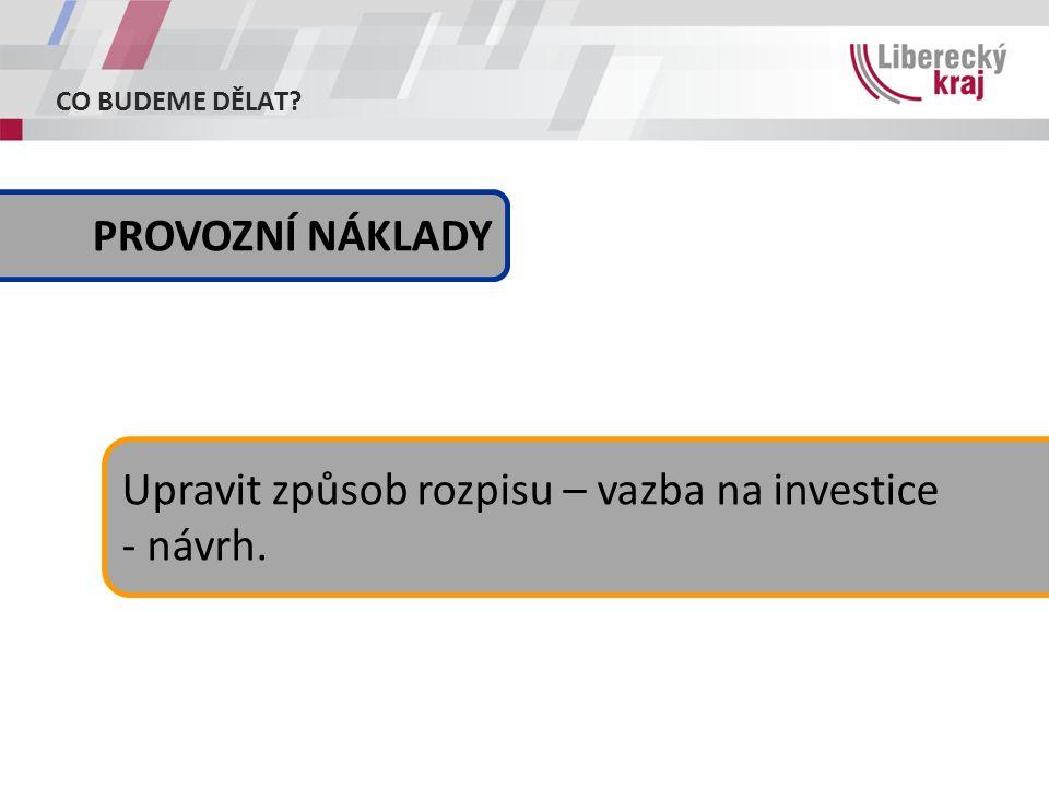 CO BUDEME DĚLAT Upravit způsob rozpisu – vazba na investice - návrh. PROVOZNÍ NÁKLADY