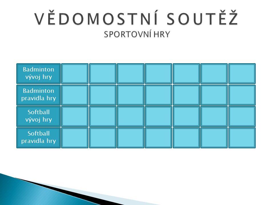 Badminton vývoj hry Badminton pravidla hry Softball vývoj hry Softball pravidla hry 1002005001000200030005000 1002005001000200030005000 1002005001000200030005000 1002005001000200030005000