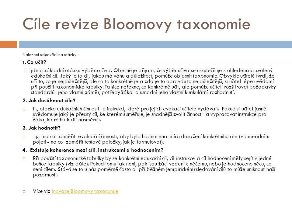 Cíle revize Bloomovy taxonomie Nalezení odpovědi na otázky : 1.