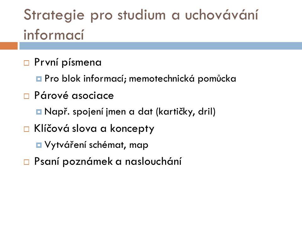 Strategie pro studium a uchovávání informací  První písmena  Pro blok informací; memotechnická pomůcka  Párové asociace  Např.