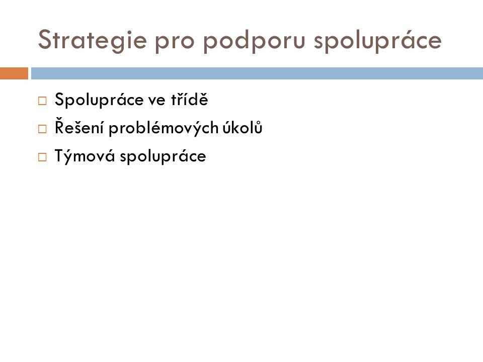 Strategie pro podporu spolupráce  Spolupráce ve třídě  Řešení problémových úkolů  Týmová spolupráce