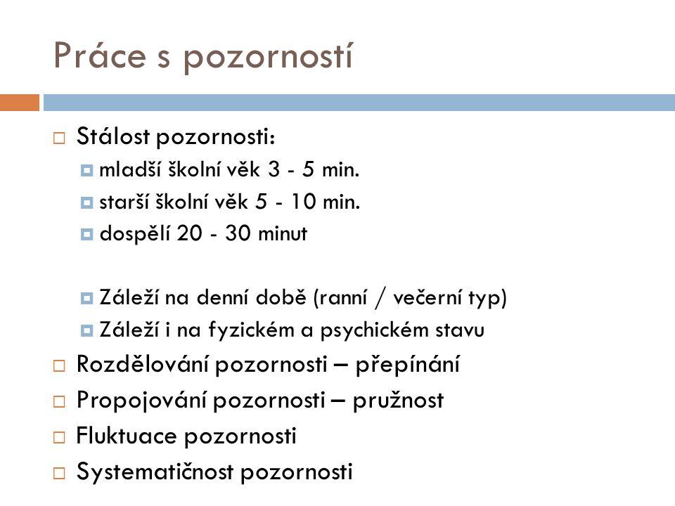 Práce s pozorností  Stálost pozornosti:  mladší školní věk 3 - 5 min.