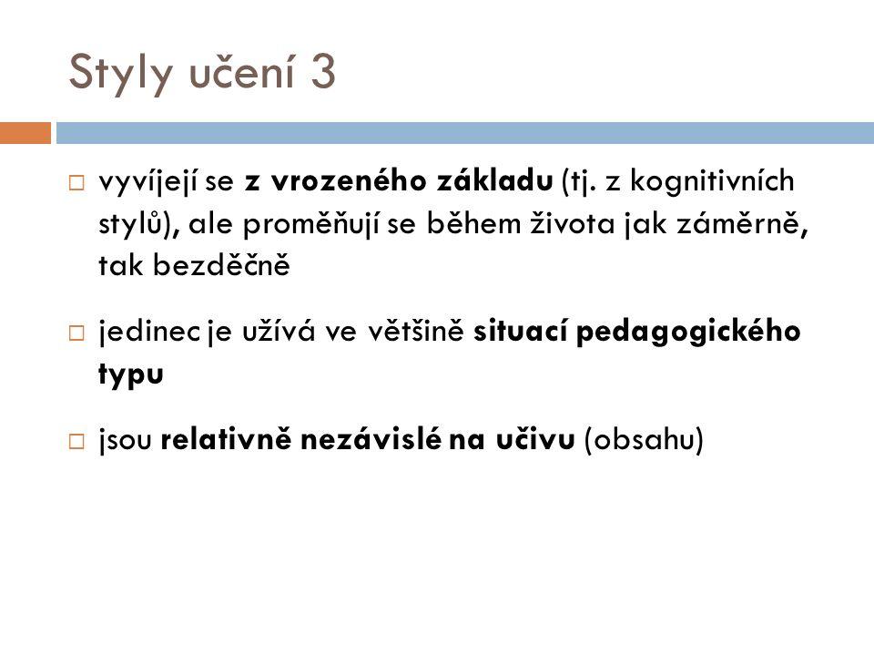 Styly učení 3  vyvíjejí se z vrozeného základu (tj.