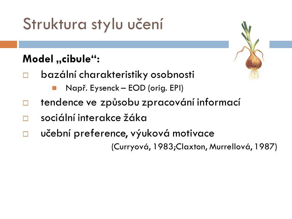"""Struktura stylu učení Model """"cibule :  bazální charakteristiky osobnosti Např."""