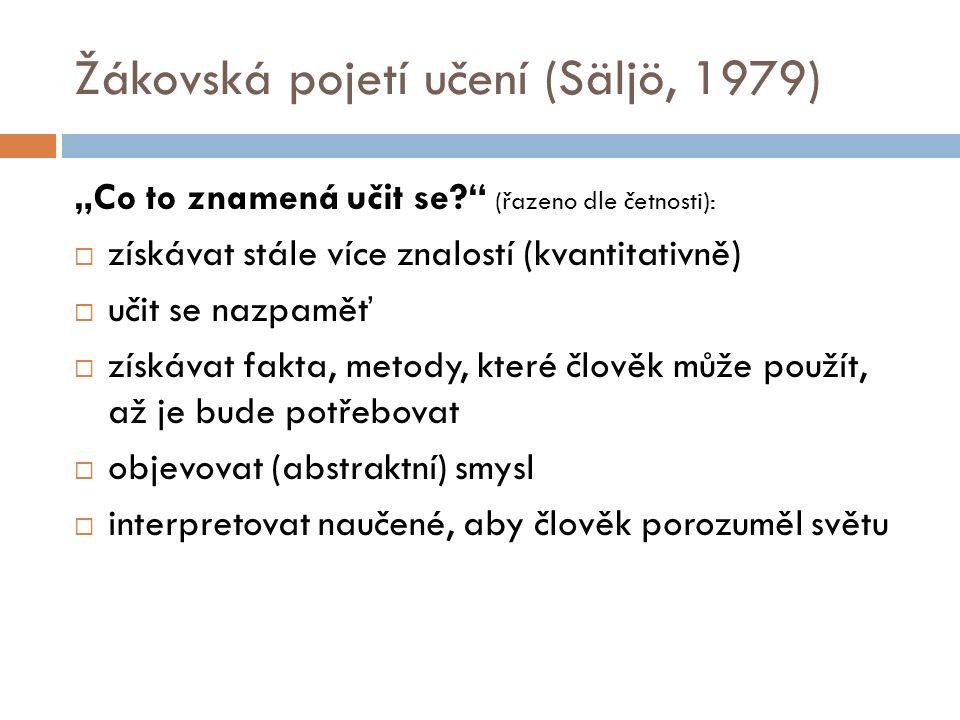 """Žákovská pojetí učení (Säljö, 1979) """"Co to znamená učit se? (řazeno dle četnosti):  získávat stále více znalostí (kvantitativně)  učit se nazpaměť  získávat fakta, metody, které člověk může použít, až je bude potřebovat  objevovat (abstraktní) smysl  interpretovat naučené, aby člověk porozuměl světu"""