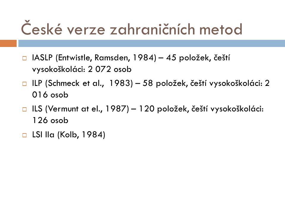 České verze zahraničních metod  IASLP (Entwistle, Ramsden, 1984) – 45 položek, čeští vysokoškoláci: 2 072 osob  ILP (Schmeck et al., 1983) – 58 položek, čeští vysokoškoláci: 2 016 osob  ILS (Vermunt at el., 1987) – 120 položek, čeští vysokoškoláci: 126 osob  LSI IIa (Kolb, 1984)