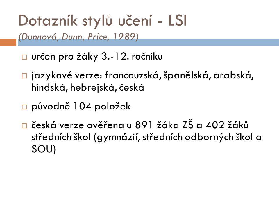 Dotazník stylů učení - LSI (Dunnová, Dunn, Price, 1989)  určen pro žáky 3.-12.