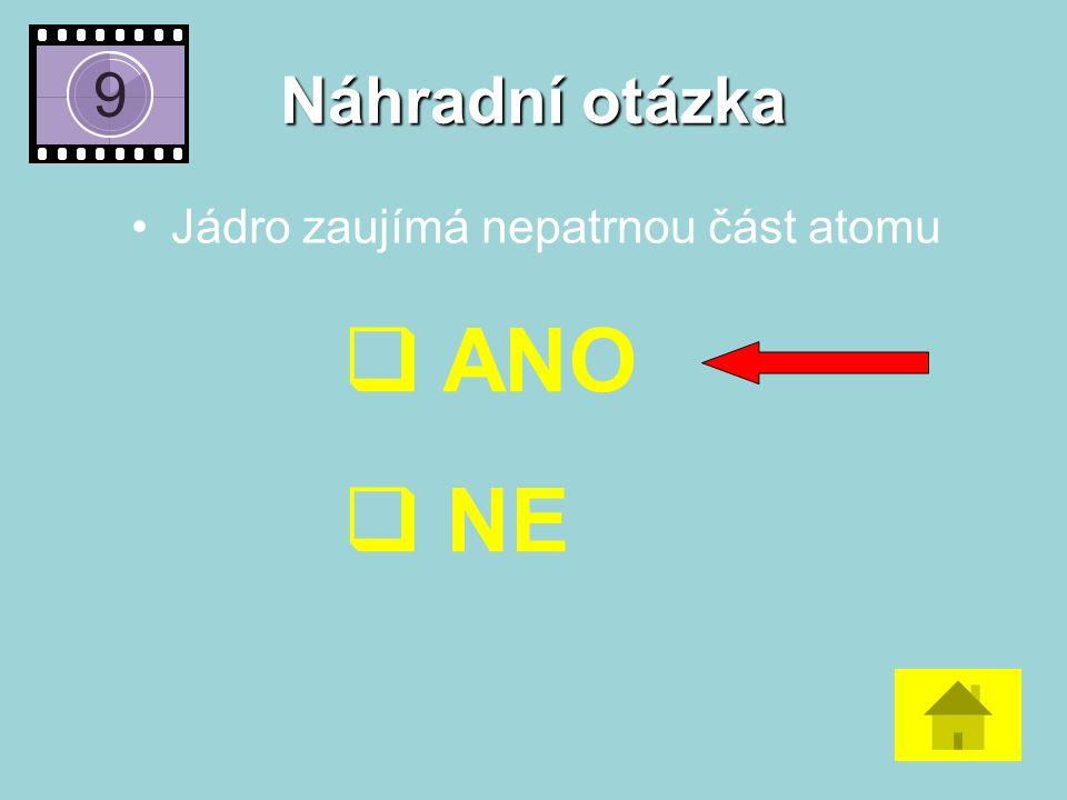 Náhradní otázka Jádro zaujímá nepatrnou část atomu  ANO  NE