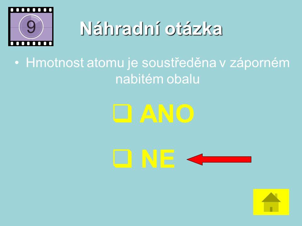 Náhradní otázka Hmotnost atomu je soustředěna v záporném nabitém obalu  ANO  NE