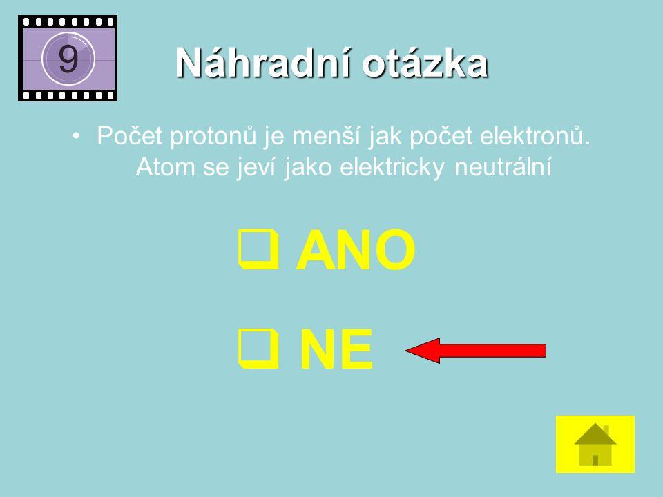 Náhradní otázka Počet protonů je menší jak počet elektronů.