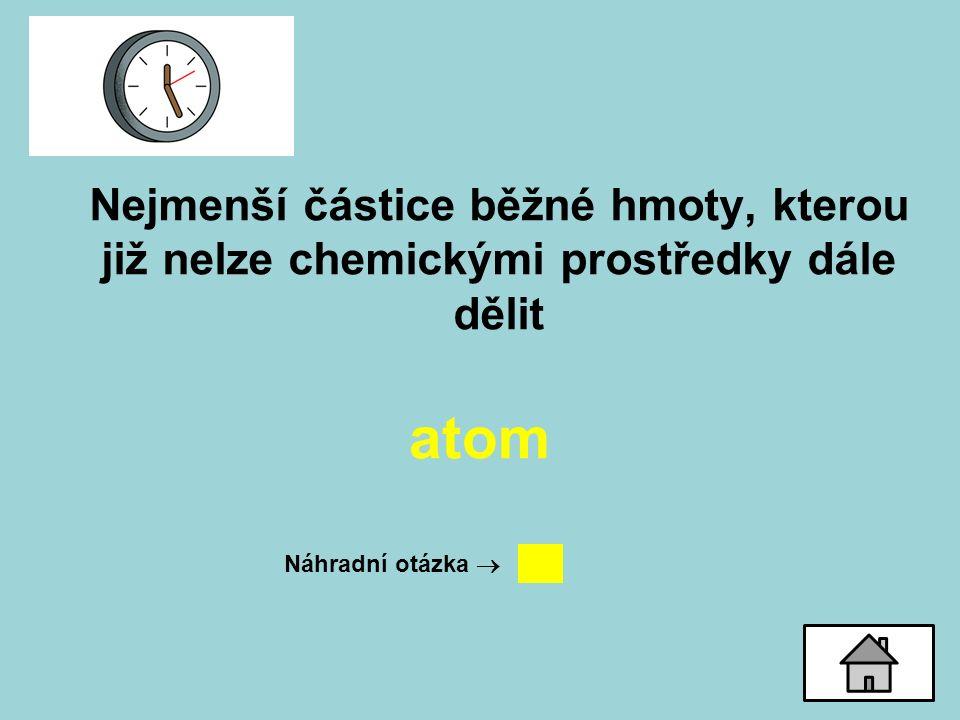 Nejmenší částice běžné hmoty, kterou již nelze chemickými prostředky dále dělit atom Náhradní otázka 