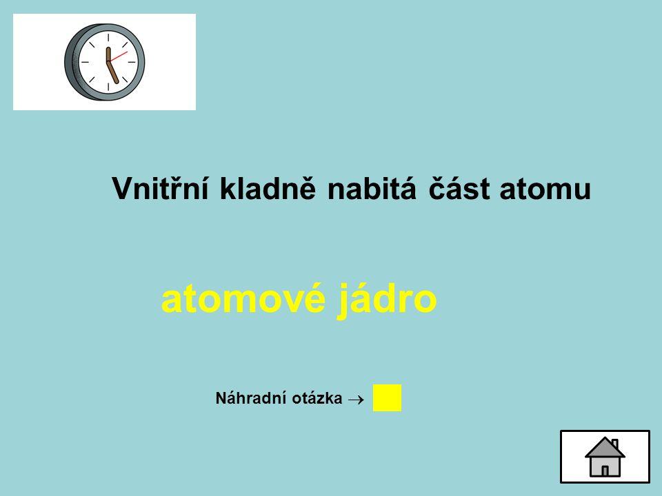 Vnitřní kladně nabitá část atomu atomové jádro Náhradní otázka 