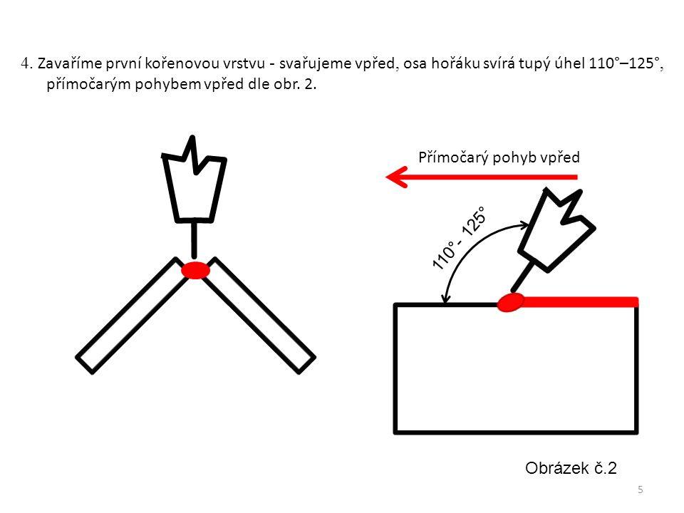 110°- 125° Přímočarý pohyb vpřed Obrázek č.2 4. Zavaříme první kořenovou vrstvu - svařujeme vpřed, osa hořáku svírá tupý úhel 110°–125°, přímočarým po